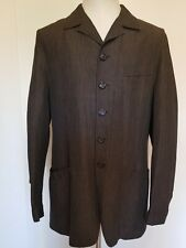 Vestium Officina Mens Stylish Striped Linen Jacket, Made In Italy Size 42