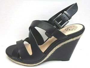 Vince Camuto Size 10 Black Leather Wedge Heels New Womens Shoes