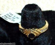 14K Princess Blue Sapphire 6 Diamond Ring New w/Tag Yellow Gold Retail $790.