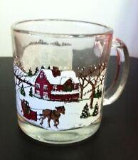 Holiday Glass/ Mug (s) - Classic New England Winter Snow Scene, Christmas