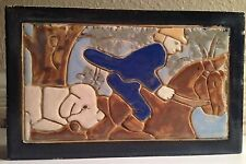 Antique The Stark Brick Co Canton Ohio Horse man With Dog Glazed Brick Tile #58A