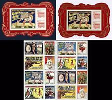 USA 2014 CIRCUS x2 S/S PERFORATED/Imperforated + PERF/IMPERF blocks of 8 MNH