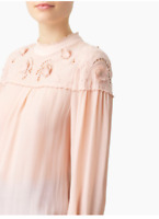 New SEE BY CHLOE EMBROIDERED BLOUSE Fluid blouse with scalloped trims Size 34