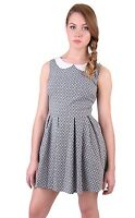 Women Summer Cute Mini Dress Ladies Peter Pan Collar A line Skirt Skater Dress