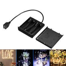 4 AA Battery Holder LED Strip Light USB Power Supply Portable Storage Box Case