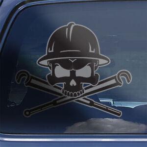 Oil petroleum refinery worker skull crossbones valve wheel wrench decal sticker