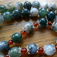NWT STERLING SILVER Baltic AMBER moss AGATE precious stone bead necklace -K85