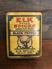 Jellico Tenn Antique Elk Brand Mfg Co Spice Tin Black Pepper Vintage