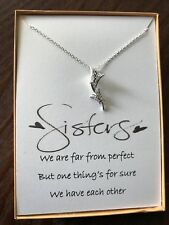 Sterling silver Zircon Butterflies Pendant Necklace With poem for Sister