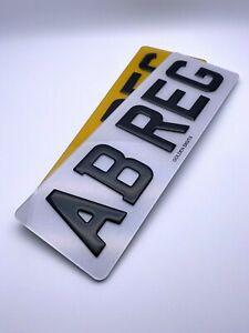 3D GEL NUMBER PLATES SHORT RAISED DOMED GLOSS BLACK PAIR ROAD LEGAL FRONT & REAR