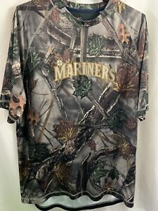 Men's Majestic Cool Base Camo Seattle Mariners MLB Tee Shirt Size XL