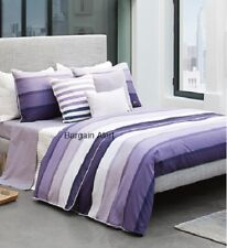 LACOSTE CLERY  PURPLE LAVENDER STRIPED TWIN DUVET COVER  W/ SHAM ~ NEW $250