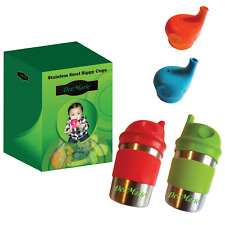 Stainless Steel Sippy Cups with Silicone Lids (2 Cups, 2 Sleeves, 4 Lids Bundle)