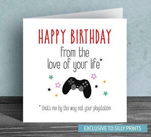 Funny Birthday Cards husband boyfriend playstation games console joke cheeky Q6