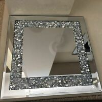 JEWELLED DIAMANTE MIRRORED CANDLE PLATE TEALIGHT HOLDER MIRROR CANDLE TRAY PLATE