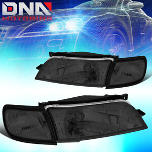 FOR 1997-1999 NISSAN MAXIMA SMOKED HOSUING CLEAR SIDE FRONT DRIVING HEADLIGHT