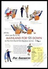 1956 United Airlines stewardess pilot steward plane color art vintage print ad