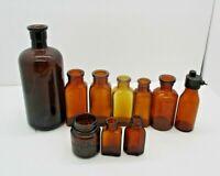 Lot of Vintage Amber Glass Bottles Medicine Lysol Etc
