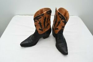 Charlie 1 Horse Cowboy Boots 7 B Womens Leather Cutouts Inlays Western Boots