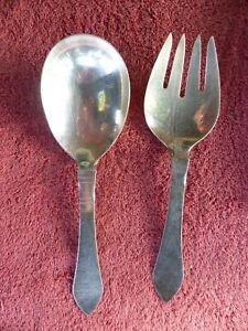 "Georg Jensen Serving Spoon & Fork Continental Antik Pattern 8 1/2"""