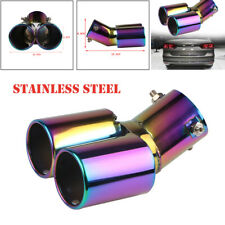 Universal Stainless Steel Dual Exhaust Tip 63mm Inlet Car Muffler Tail Tip Pipe