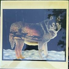 Spirit of the Wolf Pack Print on Tile, D.L. Valdes Native American 8 inch