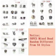 50PCS/lot Mixed Silver Plated Big Hole alloy Beads Fit European Charm Bracelet