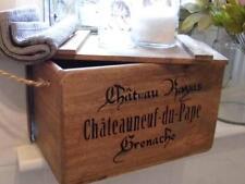 WOODEN WINE CRATE CHEST BOX & LID FAB DISPLAY STORAGE BOOKS,KITCHEN,BATHROOM