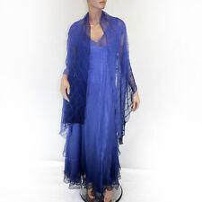 NEW NWT Komarov Woman Elegant Plus Size Purple V-Neckline Dress Scarf Lining 1X