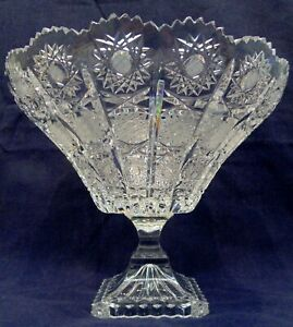 Beautiful Queen Lace Bohemia Crystal Pedestal Compote / Bowl