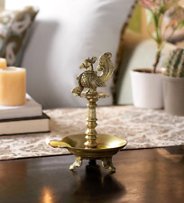 Brass Peacock Oil Wick Diya Burner Festive Diwali Pooja lamp Candlestick Decor
