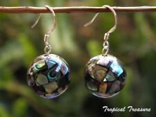 Abalone mosaic ball earrings - 925 SOLID Sterling Silver