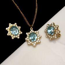 CORO PAT PEND Vintage Rhinestone Necklace Earrings Mid Century Aqua Rare Retro