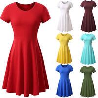 Womens Short Sleeve Tunic Dress T Shirt Dress Casual A Line Loose Swing Dress US