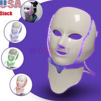 7 Colors LED Light Photon Face Neck Mask Rejuvenation Skin Care Therapy Wrinkles
