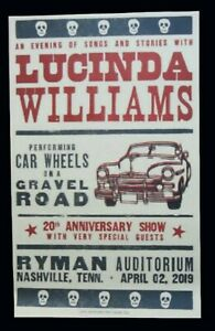 LUCINDA WILLIAMS Hatch Show Print RYMAN NASHVILLE 2019 CAR WHEELS Concert Poster