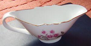 Old Russia Porcelain Sauce Boat gravy-boat White w. gold trim by DULEV Dulevo