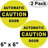 2 CAUTION AUTOMATIC DOOR Sign Window Safety Alert Warning Vinyl Sticker Decals