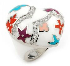 ALAN K. DESIGNO WHITE HEART LARGE RING WITH CZ & MULTI COLOR FLOWER ACCENTS. NEW