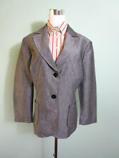 Womens Ladies Grey Boutique Tailored Casual Linen Jacket Blazer size 16 18 T113