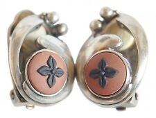 Wedgwood Earrings Terracotta Black Jasperware Sterling Silver Clip on Earrings