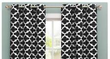 "Geometric Kyra Room-Darkening Grommet Curtains BLACK Lattice -76""x84"" PAIR NEW"