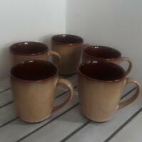 NEW Set Of 5 Sango Nova Brown #4933 Coffee Tea Mugs Cups 14 oz Beutiful