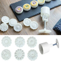 6 Styles Moon Cake Round Stamps Mould Mold Mooncake Decors Flower DIY Tools