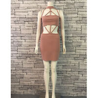Cage Detail Bodycon Dress in Nude (BNWT)