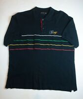 Coogi Embroidered Men's Polo Shirt Size 3XL Black Colorful