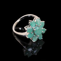 Natural Colombian Emerald Ring Exquisite Flower Design 925 Sterling Silver