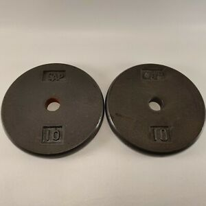 "2 Vintage Cap 10Lb 1"" Cast Iron Weight Plates Lifting"
