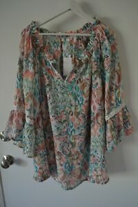 Spense Boho Peasant Blouse Top Tunic Silky Rayon Blend Plus Size 3X