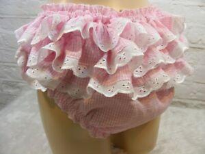 "sissy adult pink gingham frilly  panties mens lingerie underwear w/hip 32""-52"""
